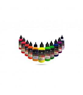 Seria Fluorescencyjna - 12 farb akrylowych - PU do aerografu