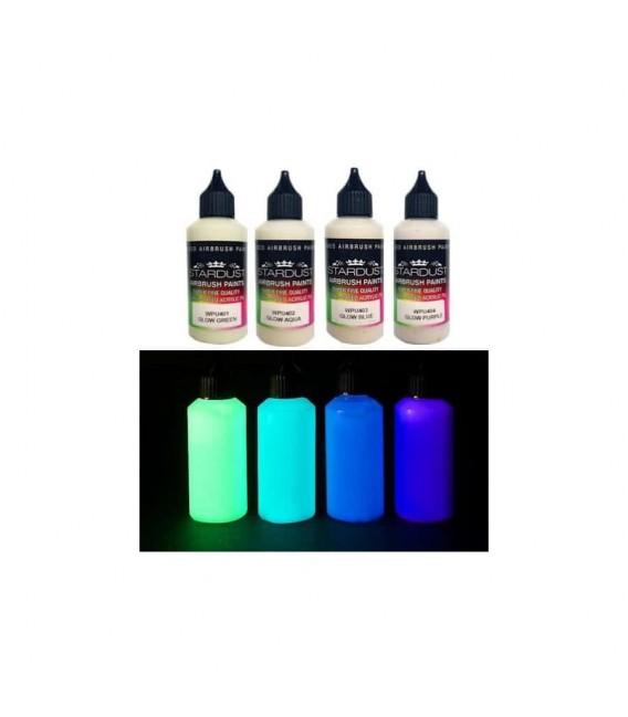 Seria GLOW – 4 farby fosforyzujące Akrylowe – PU do aerografu